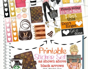 Girl Boss Printable Stickers, Louis Vuitton Planner Stickers, Stylish Planner Fashion Girl Planner Sticker, Glam Planner, To Do List