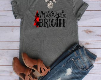 Merry and Bright Shirt // Plaid Christmas Shirt Bear Shirt // Buffalo Paid // Lumber Jack Plaid // Plaid Distressed Christmas Shirt