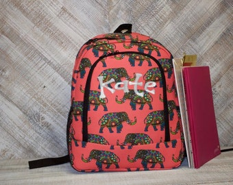 Personalized Coral Elephant Backpack
