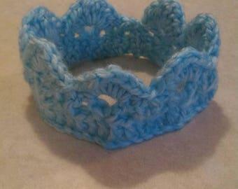 Crochet Baby Crown, Baby Boy Crown, Prince Crown, Blue Newborn Crown, Photo Prop Crown