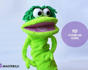 Hand Puppet Green Monster PDF Toy Sewing Pattern and Tutorial