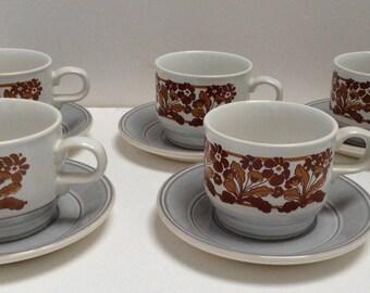 Vintage Retro Kiln Craft Bacchus Breakfast Set Cups Saucers Plates X 5
