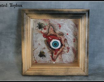 Shadow box evil eye display 3d picture macabre oddity