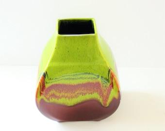 Vintage Hutschenreuther Vase,Fat Lava Vase,Pop Art,Op Art,Hutschenreuther Germany,West German pottery,Green Vase