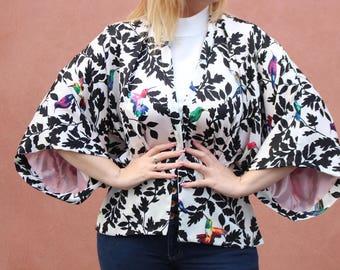 Oriental Kimono, Black and White Jacket, Floral Kimono, Reversible Kimono, Light Jacket, Boho Chic Kimono, Summer Cover Up, Gift For He