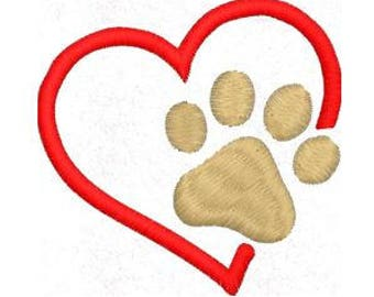 Paw Print Heart Embroidery Design, Love Pawprint Embroidery Design, 4x4 Hoop MULTIPLE FORMATS Download