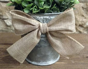 "6"" Mini Faux Boxwood Ball Topiary with Burlap Trim and Natural Polyester Bow Accent Cute Rustic (sold separately)"