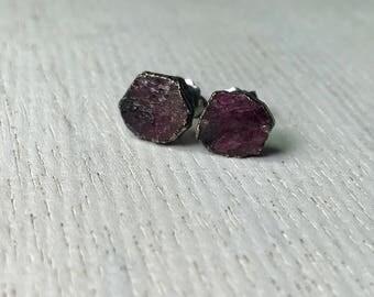 Rough Dark Pink Tourmaline Rubelite Earrings | Tourmaline Electroformed Studs | July Ruby Birthstone Earrings