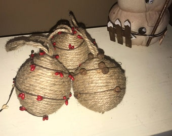 Set of 3 Twine Jute Ornaments- Berry Garland- Rustic Bells- Twine Balls