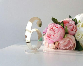 Mirror Acrylic Table Numbers.Silver  Mirror Table Numbers. Table Numbers with base.Wedding Decor.