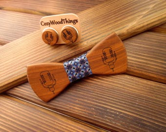 Wood bow tie gift set Bow tie set Wood cufflinks Wood accessories set Husband Boss gift Engraved cuff links Singer gift DJ gift wedding tie