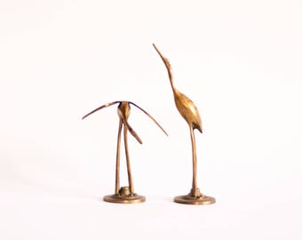 Brass Heron Figurines   Set Of 2, Pair Of Mid Century Brass Cranes,