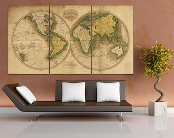Old World Map Canvas Art, Old World Map Canvas, Framed Push Pin Map, Large World Map Art, Golden Map World Poster, World Map Wall Art LC069