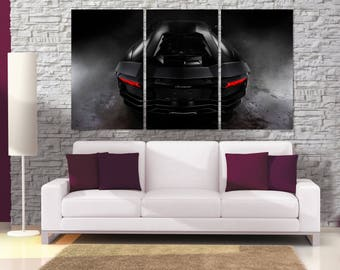 Black Lamborghini Canvas Print, Lamborghini Poster, Extra Large Framed Car Wall Art, Framed Canvas Print, Dark Car Wall Decor, Garage MR08