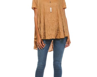 Women's Camel Flowy Tunic, High Low Top, Short Sleeve, Flowy, Ladies Swing Tunic, Plus Size Tunic Size S M L XL 1X 2X 3X - Made in USA