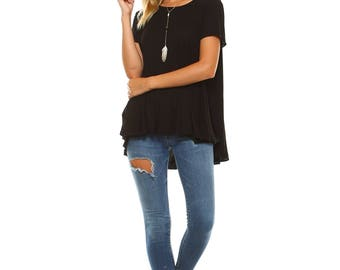 Women's Black Flowy Swing Tunic, Scoop Neck, Gifts for her, Size S M L XL - Made in USA