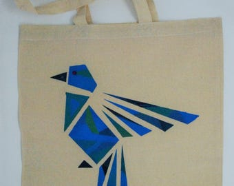 "Tote bag ""blue geometrical  bird"", cotton bag, shopping bag, shoulder bag , reusable bag,  hand painted bag, canvas bag"