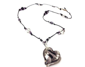 Black and purple Heart necklace/ Murano Glass/ Glass Heart pendant/ One of a kind/ statement necklace/ unique necklace/ gift for her