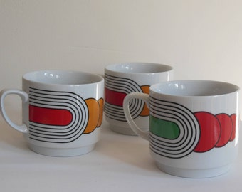 Three vintage Monopoli mugs - grooovy decorations!