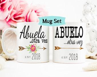 Abuela otra vez, Abuelo Again Mug Set, Grandparents mug, Pregnancy Reveal Mug, New Grandparents, Baby Announcement, Gift for Grandparents