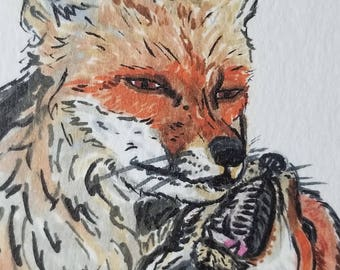 Parent and Kit Fox 5x7 Art Print// Great gift for Mother's day // Completely customizable for your mom// Professionally printed fox picture