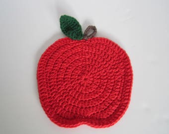 50 % off Hand crochet Hot plate Red Apple placemat in cotton **  cou[pon code :  TVA17ET501