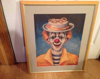 This is a self portrait that  Red Skelton painted of himself  it is colorful  and to someone who likes clowns  its nice