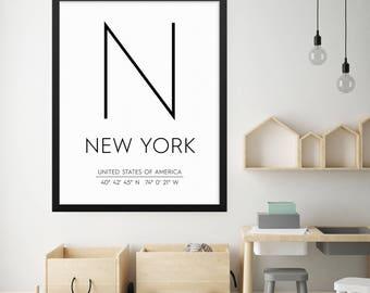 New York City Print, New York Poster, NYC Print, New York Coordinates, New York City Poster, New York Wall Art, New York City Wall Art