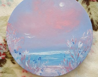 """Pink and Blue ORIGINAL oil painting - """"Brave Solace"""""""