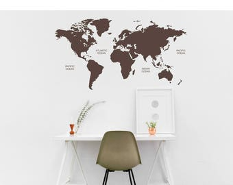 """Wall decals """"World map"""" map of world no. 110"""