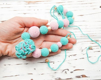 Turquoise blue pink crochet nursing necklace - Natural organic teething necklace for breastfeeding babywearing mom