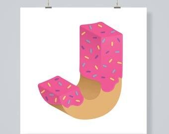 Letter J, pink doughnut, digital download print poster