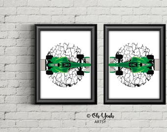 Green Racer Car Art Print