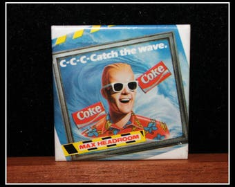 Vintage Coca-Cola Max Headroom Promotional Button, Coke Max Headroom Advertising Button, 1980's Pop Culture Icon, Catch The Wave