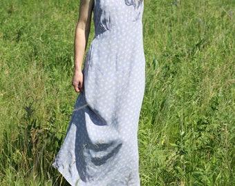 Vintage Floral Sun Dress Pastel Sleeveless Maxi Empire Waist Midi PUDDING SHOP Medium