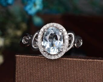 Aquamarine Engagement Ring Oval Cut White Gold Wedding Halo Diamond Anniversary Promise Unique Art Deco March Birthstone Filigree