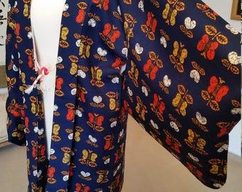 Haori kimono in dark blue jacket / kimono / wool jacket / coat vintage jacket / kimono