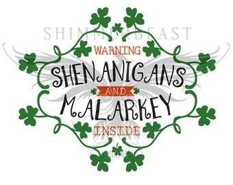 St. Patrick's Day SVG | Shenanigans and Malarkey svg | st pattys day svg | st paddys day svg | st patricks day svg | funny | shamrock | svg