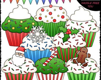 Christmas Cupcakes Clip Art and B&W Set