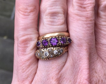 Victorian Style 9K 5-Stone Amethyst Ring Size 5-3/4