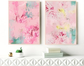 Pink Abstract Art, Set of 2 Abstract Flower Paintings,  Pale Pink Floral Painting, Modern Nursery Art, Extra Large Wall Art, Gift For Her