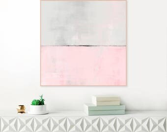 Pink Abstract Art, Large Pink Painting, Modern Abstract Print, Minimalist Painting, Original Wall Art, Oversized Wall Art