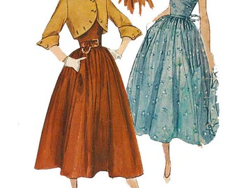 Vintage 1950's Sewing Pattern Feather Boned Bodice Dress & Bolero Jacket B 34""