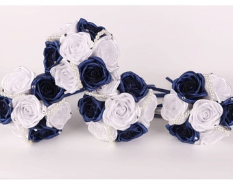 Navy Bridesmaids Bouquet White And Blue Toss Fabric Roses