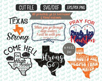 Texas Strong SVG bundle,  DXF, EPS, png Files for Cutting Machines Cameo or Cricut - Hurricane Harvey svg Bundle Texas  svg Tx Strong svg
