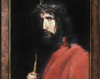 Original oil painting Jesus Christ Renaissance Portrait Ancient painting Aged painting Сraquelure Vintage painting Carl Bloch Ready to hang
