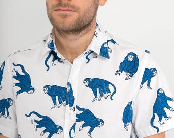 Mens 100% Cotton Short Sleeve Slim Fit Shirt Blue White Monkey Print