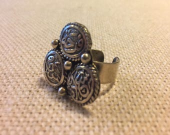 """Beautiful Arabic Calligraphy Handmade Ring from Egypt. Says """"Excitement, Happiness, and Harmony"""" in Arabic. Sterling Silver, Adjustable."""