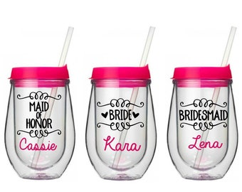 Bridesmaid Wine Tumbler - Bridal Party Bev2Go Tumbler - Bachelorette Cups - Gift for Bridesmaids - Wedding Party Gifts -  Maid of Honor Gift