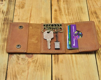 Leather key holder, Key pouch, Key wallet holder, Pocket key holder, Leather key organizer, Key case holder, Leather key case, Key purse